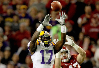 TUSCALOOSA, AL - NOVEMBER 05:  Morris Claiborne #17 of the LSU Tigers makes an interception over Brad Smelley #17 of the Alabama Crimson Tide during the second half of the game at Bryant-Denny Stadium on November 5, 2011 in Tuscaloosa, Alabama.  (Photo by