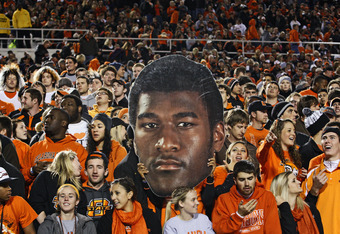 STILLWATER, OK - NOVEMBER 5:  A fan holds an image of wide receiver Justin Blackmon #81 of the Oklahoma State Cowboysduring the game against the Kansas State Wildcats on November 5, 2011 at Boone Pickens Stadium in Stillwater, Oklahoma.  Oklahoma State de