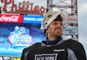 PHILADELPHIA, PA - JANUARY 1: Henrik Lundqvist #30 of the New York Rangers looks on during practice for the 2012 Bridgestone NHL Winter Classic at Citizens Bank Park on January 1, 2012 in Philadelphia, Pennsylvania. (Photo by Christopher Pasatieri/Getty I