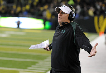 EUGENE, OR - NOVEMBER 19: Head coach Chip Kelly of the Oregon Ducks yells out to officials from the sidelines in the fourth quarter of the game against the USC Trojans at Autzen Stadium on November 19, 2011 in Eugene, Oregon. USC won the game 38-35. (Phot