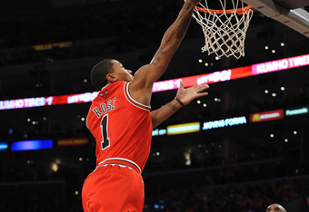 LOS ANGELES, CA - DECEMBER 25:  Derrick Rose #1 of the Chicago Bulls puts a shot up during the game against the Los Angeles Lakers at Staples Center on December 25, 2011 in Los Angeles, California.  NOTE TO USER: User expressly acknowledges and agrees tha