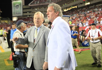 TAMPA, FL - OCTOBER 03: Bill Polian (L) and Jim Irsay chat at the Indianapolis Colts against the Tampa Bay Buccaneers at Raymond James Stadium on October 3, 2011 in Tampa, Florida. (Photo by Marc Serota/Getty Images)