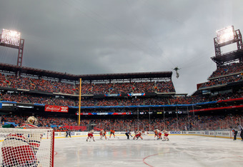 PHILADELPHIA, PA - JANUARY 02:  The New York Rangers take on the Philadelphia Flyers during the 2012 Bridgestone NHL Winter Classic at Citizens Bank Park on January 2, 2012 in Philadelphia, Pennsylvania.  (Photo by Rob Carr/Getty Images)