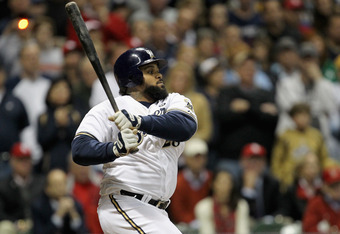 MILWAUKEE, WI - OCTOBER 16:  Prince Fielder #28 of the Milwaukee Brewers bats against the St. Louis Cardinals during Game Six of the National League Championship Series at Miller Park on October 16, 2011 in Milwaukee, Wisconsin.  (Photo by Jonathan Daniel