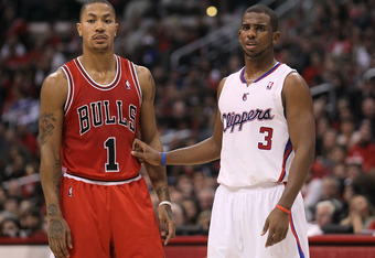 LOS ANGELES, CA - DECEMBER 30: Derrick Rose #1 of the Chicago Bulls and Chris Paul #3 of the Los Angeles Clippers set for a play at Staples Center on December 30, 2011 in Los Angeles, California.   NOTE TO USER: User expressly acknowledges and agrees that
