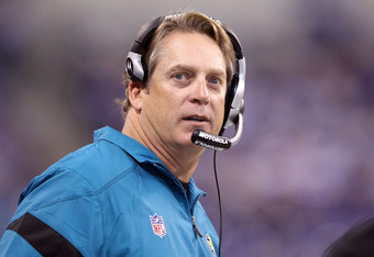 INDIANAPOLIS, IN - NOVEMBER 13:  Jack Del Rio the Head Coach of the Jacksonville Jaguars watches the action during the game against the Indianapolis Colts at Lucas Oil Stadium on November 13, 2011 in Indianapolis, Indiana.  (Photo by Andy Lyons/Getty Imag
