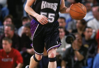 20 Dec 2000:  Jason Williams #55 of the Sacramento Kings moves with the ball during the game against the Seattle SuperSonics at Key Arena in Seattle, Washington. The SuperSonics defeated the Kings 89-85.    NOTE TO USER: It is expressly understood that th