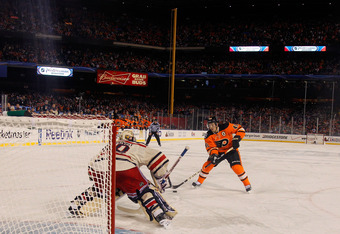 Henrik Lundqvist stopping Danny Briere's penalty shot.
