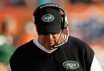 MIAMI GARDENS, FL - JANUARY 01:  New York Jets head coach Rex Ryan looks on during a game against the Miami Dolphins at Sun Life Stadium on January 1, 2012 in Miami Gardens, Florida.  (Photo by Mike Ehrmann/Getty Images)