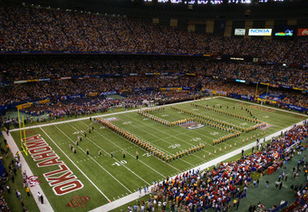 NEW ORLEANS - JANUARY 4:  Louisiana State University Tigers marching band, the Golden Band from Tigerland, performs during an intermission in National Championship Nokia Sugar Bowl game against the University of Oklahoma Sooners at the Louisiana Superdome