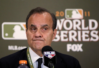 ST LOUIS, MO - OCTOBER 26:  Major League Baseball's Executive Vice President of Baseball Operations Joe Torre speaks at a press conference announcing the postponement of Game 6 of the World Series at Busch Stadium on October 26, 2011 in St Louis, Missouri