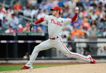 NEW YORK, NY - SEPTEMBER 24:  Cole Hamels #35 of the Philadelphia Phillies throws a pitch in the sixth inning against the New York Mets at Citi Field on September 24, 2011 in the Flushing neighborhood of the Queens borough of New York City.  (Photo by Pat