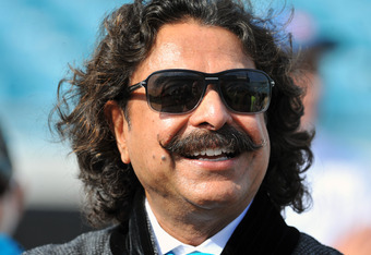 JACKSONVILLE, FL - JANUARY 01:  Shahid Khan, the new owner of   of the Jacksonville Jaguars, watches warmups before play against the Indianapolis Colts January 1, 2012 at EverBank Field in Jacksonville, Florida.  (Photo by Al Messerschmidt/Getty Images)