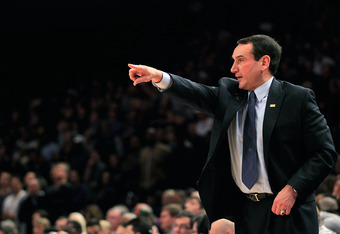 NEW YORK, NY - DECEMBER 10:  Head coach Mike Krzyzewski of the Duke Blue Devils coaches against the Washington Huskies at Madison Square Garden on December 10, 2011 in New York City.  (Photo by Chris Trotman/Getty Images)
