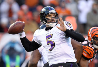 CINCINNATI, OH - JANUARY 01:  Joe Flacco #5 of the Baltimore Ravens throws the ball during the NFL game against  the Cincinnati Bengals at Paul Brown Stadium on January 1, 2012 in Cincinnati, Ohio.  (Photo by Andy Lyons/Getty Images)