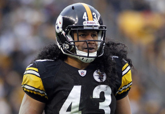 PITTSBURGH, PA - DECEMBER 24:  Troy Polamalu #43 of the Pittsburgh Steelers looks on against the St. Louis Rams during the game on December 24, 2011 at Heinz Field in Pittsburgh, Pennsylvania.  The Steelers won 27-0.  (Photo by Justin K. Aller/Getty Image