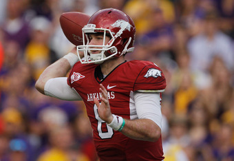 BATON ROUGE, LA - NOVEMBER 25:  Tyler Wilson #8 of the Arkansas Razorbacks throws a pass against the Louisiana State University Tigers at Tiger Stadium on November 25, 2011 in Baton Rouge, Louisiana.  (Photo by Chris Graythen/Getty Images)