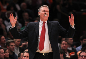 NEW YORK, NY - APRIL 22:  Mike D'Antoni of the New York Knicks reacts against the Boston Celtics in Game Three of the Eastern Conference Quarterfinals in the 2011 NBA Playoffs on April 22, 2011 at Madison Square Garden in New York City.  NOTE TO USER: Use