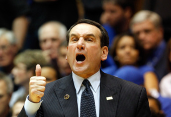 DURHAM, NC - NOVEMBER 18:  Head coach Mike Krzyzewski of the Duke Blue Devils calls a play against the Davidson Wildcats during their game at Cameron Indoor Stadium on November 18, 2011 in Durham, North Carolina.  (Photo by Streeter Lecka/Getty Images)