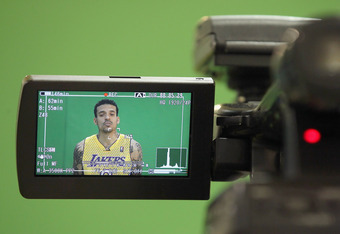 EL SEGUNDO, CA - DECEMBER 11:  Matt Barnes #9 is seen on the screen of a video camera during Los Angeles Lakers Media Day at Toyota Sports Center on December 11, 2011 in El Segundo, California.  (Photo by Jeff Gross/Getty Images)