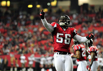 ATLANTA, GA - JANUARY 01: Sean Weatherspoon #56 of the Atlanta Falcons celebrates after stopping a two-point conversion attempt by the Tampa Bay Buccaneers during play at the Georgia Dome on January 1, 2012 in Atlanta, Georgia. The Falcons won 45-24. (Pho