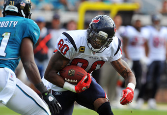 JACKSONVILLE, FL - NOVEMBER 27:  Wide receiver Andre Johnson #80 of the the Houston Texans rushes upfield with a pass against the Jacksonville Jaguars November 27, 2011 at EverBank Field in Jacksonville, Florida. (Photo by Al Messerschmidt/Getty Images)