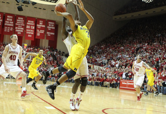 BLOOMINGTON, IN - JANUARY 05:  Trey Burke #3 of the Michigan Wolverines shoots the ball during the Big Ten Conference game against the Indiana Hoosiers at Assembly Hall on January 5, 2012 in Bloomington, Indiana.  (Photo by Andy Lyons/Getty Images)