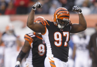 CINCINNATI, OH - NOVEMBER 27:  Geno Atkins #97 of the Cincinnati Bengals celebrates a sack of Colt McCoy #12 of the Cleveland Browns during their game at Paul Brown Stadium on November 27, 2011 in Cincinnati, Ohio.  The Bengals defeated the Browns 23-20.