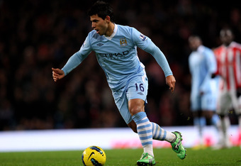 MANCHESTER, ENGLAND - DECEMBER 21:   Sergio Aguero of Manchester City in action during the Barclays Premier League match between Manchester City and Stoke City at the Etihad Stadium on December 21, 2011 in Manchester, England.  (Photo by Alex Livesey/Gett