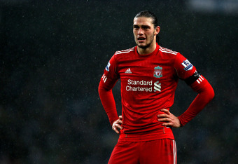 MANCHESTER, ENGLAND - JANUARY 03:  Andy Carroll of Liverpool looks dejected during the Barclays Premier League match between Manchester City and Liverpool at the Etihad Stadium on January 3, 2012 in Manchester, England.  (Photo by Clive Brunskill/Getty Im