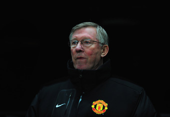 NEWCASTLE UPON TYNE, ENGLAND - JANUARY 04:  Man United manager Alex Ferguson  looks on before the Barclays Premier league game between Newcastle United and Manchester United at St James' Park on January 4, 2012 in Newcastle upon Tyne, England.  (Photo by
