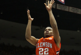 TUCSON, AZ - DECEMBER 10:  Bernard Sullivan #22 of the Clemson Tigers puts up a shot against the Arizona Wildcats during the college basketball game at McKale Center on December 10, 2011 in Tucson, Arizona. The Wildcats defeated the Tigers 63-47.  (Photo