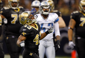 NEW ORLEANS, LA - JANUARY 07:  Darren Sproles #43 of the New Orleans Saints reacts after a run against the Detroit Lions during their 2012 NFC Wild Card Playoff game at Mercedes-Benz Superdome on January 7, 2012 in New Orleans, Louisiana.  (Photo by Chris