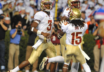 GAINESVILLE, FL - NOVEMBER 26:  Quarterback EJ Manuel #3 of the Florida State Seminoles celebrates after a touchdown run against the Florida Gators November 26, 2011 at Ben Hill Griffin Stadium in Gainesville, Florida.  (Photo by Al Messerschmidt/Getty Im