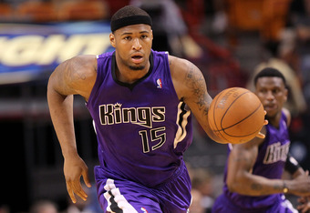 MIAMI, FL - FEBRUARY 22: DeMarcus Cousins #15 of the Sacramento Kings brings the ball up the floor during a game against  the Miami Heat at American Airlines Arena on February 22, 2011 in Miami, Florida. NOTE TO USER: User expressly acknowledges and agree