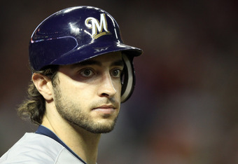 PHOENIX, AZ - OCTOBER 04:  Ryan Braun #8 of the Milwaukee Brewers looks on while on-deck before batting in the first inning against the Arizona Diamondbacks in Game Three of the National League Division Series at Chase Field on October 4, 2011 in Phoenix,