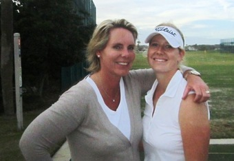 Germany's Victoria Sherer with her mom on the practice tee enjoying some together time!