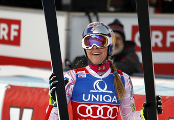 BAD KLEINKIRCHHEIM, AUSTRIA - JANUARY 07: (FRANCE OUT) Lindsey Vonn of the USA in action during the Audi FIS Alpine Ski World Cup Women's Downhill on January 7, 2012 in Bad Kleinkirchheim, Austria. (Photo by Christophe Pallot/Agence Zoom/Getty Images)