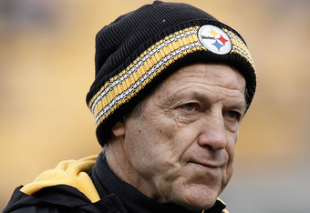 PITTSBURGH, PA - DECEMBER 24:  Defensive Coordinator Dick LeBeau of the Pittsburgh Steelers watches his team warm up prior to the Christmas Eve game against St. Louis Rams on December 24, 2011 at Heinz Field in Pittsburgh, Pennsylvania.  (Photo by Jared W