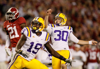 TUSCALOOSA, AL - NOVEMBER 05:  Drew Alleman #30 of the LSU Tigers against the Alabama Crimson Tide at Bryant-Denny Stadium on November 5, 2011 in Tuscaloosa, Alabama.  (Photo by Kevin C. Cox/Getty Images)