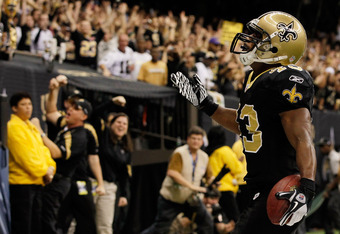 NEW ORLEANS, LA - JANUARY 07:  Darren Sproles #43 of the New Orleans Saints reacts scoring a touchdown in the second quarter against the Detroit Lions during their 2012 NFC Wild Card Playoff game at Mercedes-Benz Superdome on January 7, 2012 in New Orlean