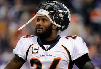 MINNEAPOLIS, MN - DECEMBER 4: Champ Bailey #24 of the Denver Broncos looks on during the game against the Minnesota Vikings on December 4, 2011 at Mall of America Field at the Hubert H. Humphrey Metrodome in Minneapolis, Minnesota. (Photo by Hannah Foslie