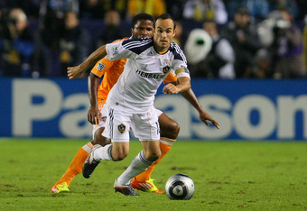 CARSON, CA - NOVEMBER 20:  Landon Donovan #10 of the Los Angeles Galaxy controls the ball against the Houston Dynamo during the 2011 MLS Cup at The Home Depot Center on November 20, 2011 in Carson, California.  (Photo by Victor Decolongon/Getty Images)