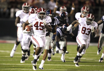 OXFORD, MS - OCTOBER 15:  Running back Jalston Fowler #45 of the Alabama Crimson Tide runs for a 69-yard touchdown against the Ole Miss Rebels in the fourth quarter on October 15, 2011 at Vaught-Hemingway Stadium in Oxford, Mississippi. (Photo by Butch Di