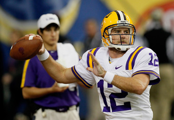 ATLANTA, GA - DECEMBER 03:  Jarrett Lee #12 of the LSU Tigers against the Georgia Bulldogs during the 2011 SEC Championship Game at Georgia Dome on December 3, 2011 in Atlanta, Georgia.  (Photo by Kevin C. Cox/Getty Images)