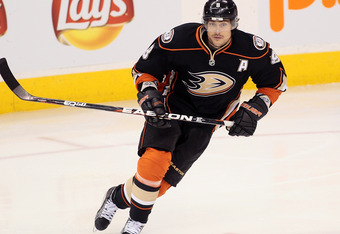WINNIPEG, CANADA - DECEMBER 17: Teemu Selanne #8 of the Anaheim Ducks skates on the ice in a game against the Winnipeg Jets in NHL action at the MTS Centre on December 17, 2011 in Winnipeg, Manitoba, Canada. (Photo by Marianne Helm/Getty Images)