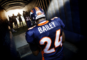 DENVER, CO - DECEMBER 18: Champ Bailey #24 of the Denver Broncos waits for his name to be called during player introductions before a home game against the New England Patriots on December 18, 2011 at Sports Authority Field at Mile High in Denver, Colorad