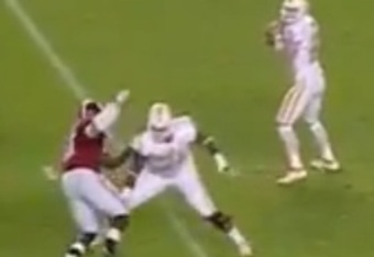 Upshaw executes a counter rip on the Tennessee LT.