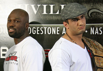 HOLLYWOOD - MARCH 17:  Undefeated Light Heavyweight contender 'King Mo' Lawal (L) and Strikeforce Light Heavyweight Champion Gegard 'The Dreamcatcher' Mousasi (R) attends the CBS' Strikeforce MMA Fighters Open Media Workout on March 17, 2010 in Hollywood,
