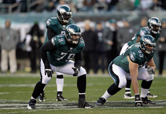 PHILADELPHIA, PA - DECEMBER 18:  Todd Herremans #79 and  Danny Watkins #63 of the Philadelphia Eagles line up to block against the New York Jets at Lincoln Financial Field on December 18, 2011 in Philadelphia, Pennsylvania.  (Photo by Rob Carr/Getty Image